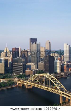 Overhead view of Pittsburgh & Fort Pitt Bridge - stock photo