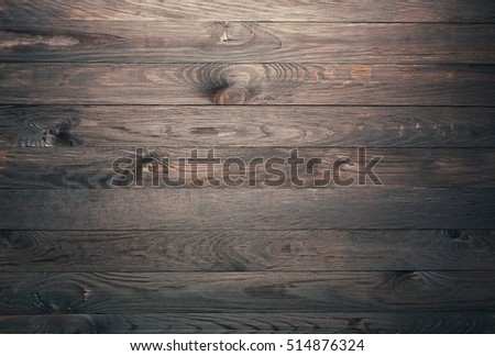 Overhead view of wooden table, background