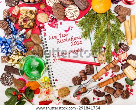 Overindulgence at Christmas, then New Year Resolution to lose weight. Fun. - stock photo