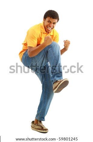 Overjoyed celebrating African American man on white background