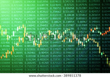 Overlaid photographs of candlestick charts on black random number background taken from a laptop computer screen for stock market trading idea concept with green filter applied