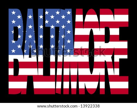 overlapping Baltimore text with American flag illustration JPG