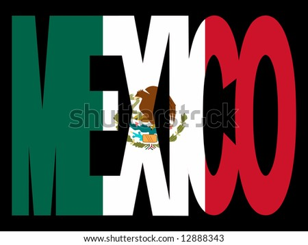 overlapping Mexico text with Mexican flag JPG