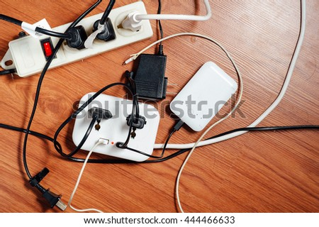 Overload-Active power consumption may exceed the limits of plugs and wires.
