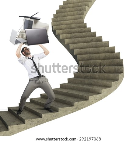 Overload businessman working launches pc from stairs - stock photo