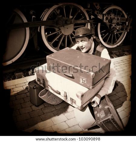 overloaded porter - stock photo