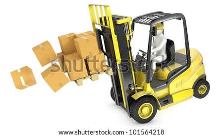 Overloaded yellow fork lift truck falling forward, isolated on white background - stock photo