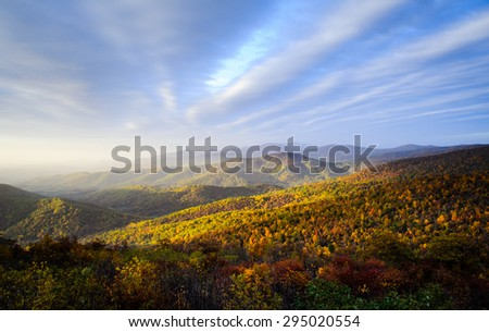 Overlook at Blue Ridge Mountains - stock photo