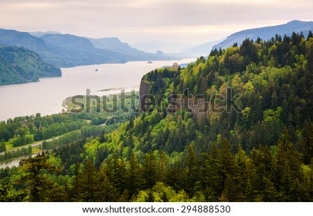 Overlook at Portland Women's Forum State Park at Columbia, Columbia Gorge - stock photo