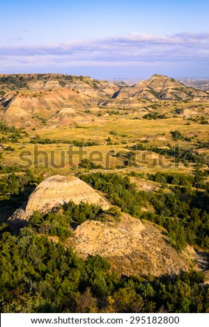 Overlook at Theodore Roosevelt Wilderness - stock photo