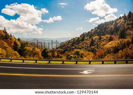Overlook, blue sky vista, Great Smoky Mountains National Park. - stock photo