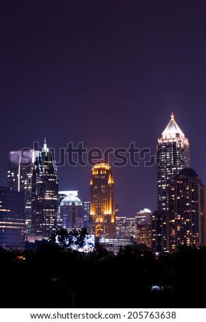 Overlook of Atlanta downtown at dusk - stock photo