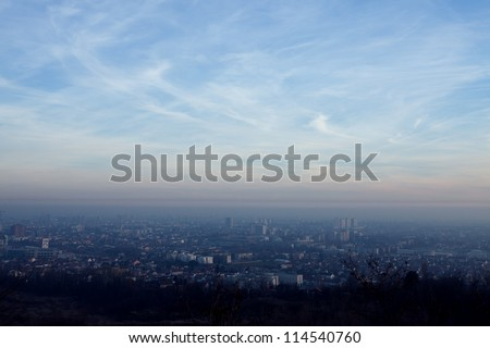 overlook on zagreb city in the winter afternoon - stock photo