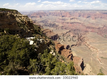 overlook view from the south rim of the Grand Canyon - stock photo
