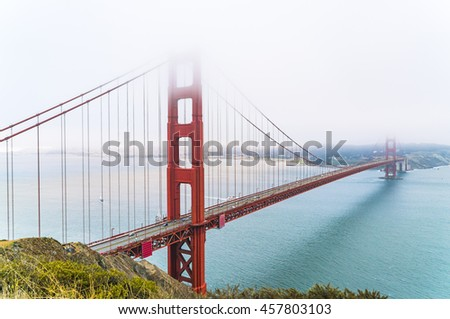 overlook view of Golden gate  bridge with fog,San francisco,California,usa.