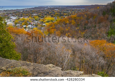 Overlooking Autumn Landscape from Niagara Escarpment, Ontario - stock photo