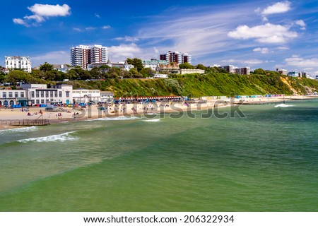 Overlooking Bournemouth Beach photographed from the Pier  Dorset England UK Europe - stock photo