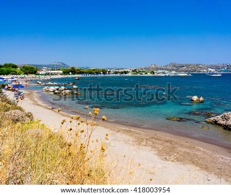 Overlooking Kathara Beach Faliraki Rhodes Dodecanese Greece Europe - stock photo