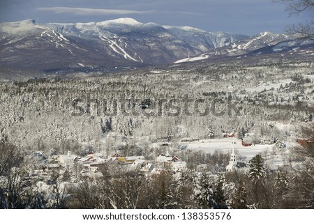 Overlooking Stowe village with Mt. Mansfield in the background, Stowe, Vermont, USA