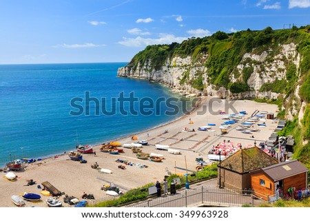 Overlooking the beach and cliffs at Beer in Lyme Bay Devon England UK Europe