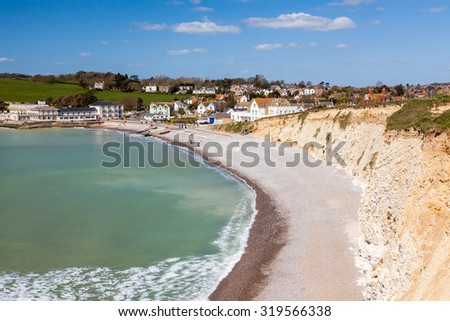 Overlooking the beach at Freshwater Bay on the Isle Of Wight England UK Europe - stock photo