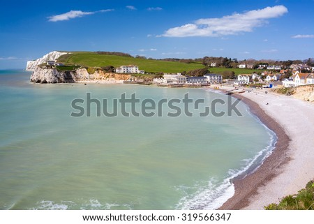 Overlooking the beach at Freshwater Bay on the Isle Of Wight England UK Europe