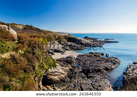 Overlooking the beach at Prussia Cove Cornwall England UK Europe - stock photo
