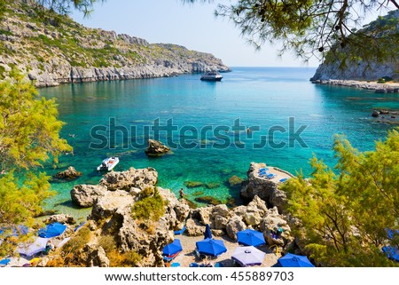 Overlooking the beautiful beach at Anthony Quinn Bay Rhodes Greece Europe