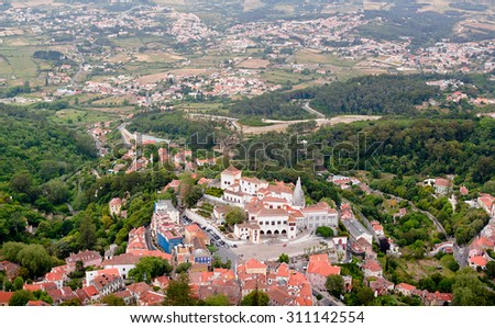 Overlooking the beautiful European city called Sintra, located in Portugal.  - stock photo