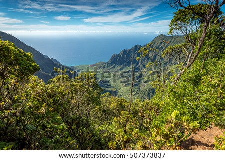 Overlooking the beautiful Kalalau valley on island of Kauai, Hawaii