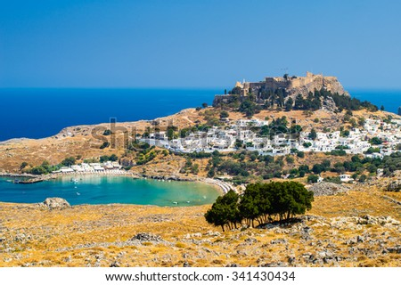 Overlooking the beautiful village of Lindos on the Island of Rhodes Dodecanese Greece Europe - stock photo