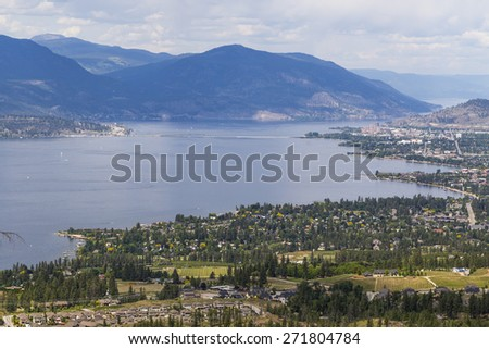 Overlooking the City of Kelowna and Scenic Okanagan Valley - stock photo