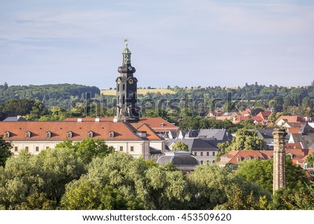 Overlooking the famous German city of Weimar, the city of Goethe and Schiller, in Thuringia, Germany. - stock photo