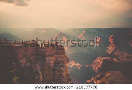 Overlooking the Grand Canyon Sunset - stock photo