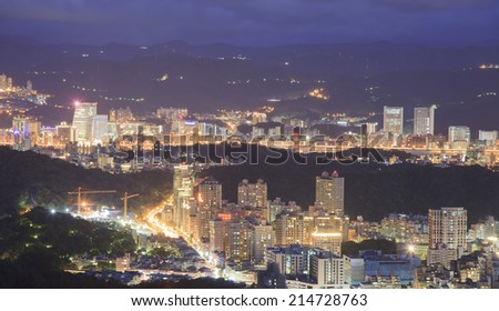 Overlooking The night view of The Taipei city