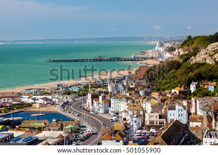 Overlooking the town of Hastings East Sussex England UK Europe