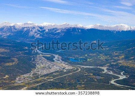 Overlooking the town of Jasper from the mountain top - Jasper National Park, Alberta, Canada