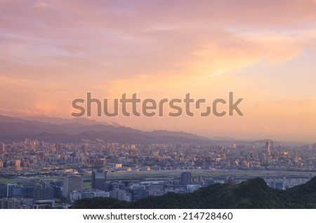 Overlooking The view of The Taipei city. - stock photo
