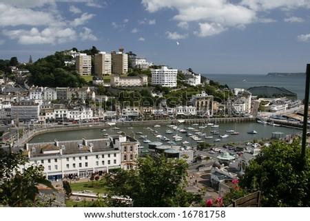 Overlooking Torquay Harbour, Devon - stock photo