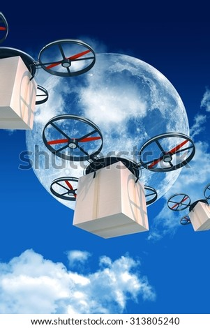 Overnight Shipping By Drones 3D With Packages Illustration Large Moon And Few Clouds