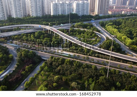 overpass and a lot of cars in China - stock photo