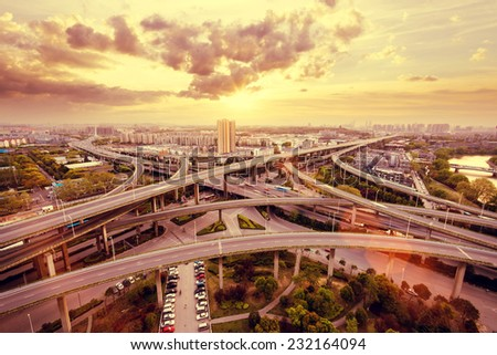 overpass and cityscape of modern urban city - stock photo