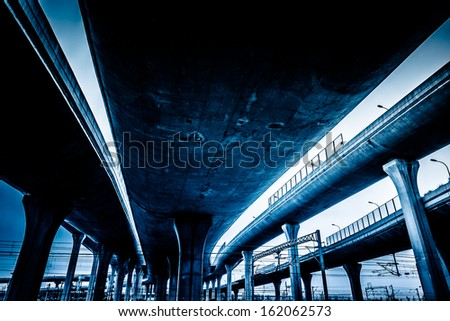 overpass bridge, low angle view at shanghai china.