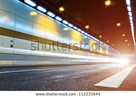Overpass of the light trails, beautiful curves. - stock photo