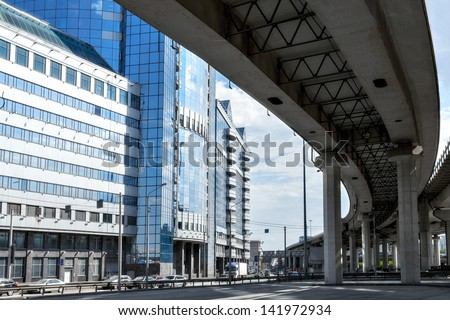 Overpass of the Third Ring Road in Moscow in front of business district Moscow-City, Russia - stock photo