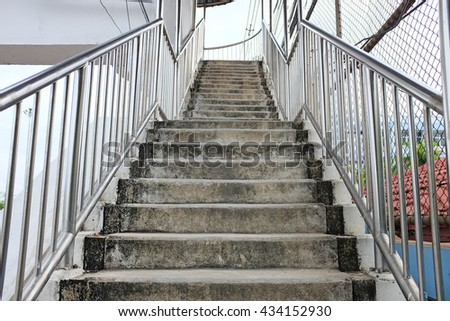 Overpass stairs in the city - stock photo