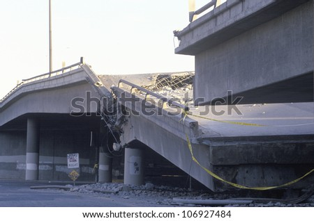 Overpass that collapsed on Highway 10 in the Northridge/Reseda area at the epicenter of earthquake in 1994 - stock photo