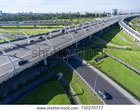 Overpasses of Western High Speed Diameter (WHSD). Entrances from ring-road. The Saint-Petersburg ringroad, Russia