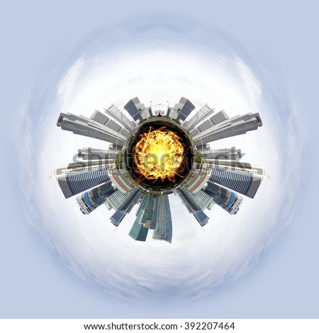 Overpopulated Tiny little planet with skyscrapers and magma core under surface. - stock photo
