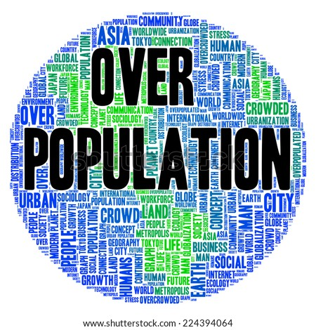 Overpopulation word cloud shape concept - stock photo